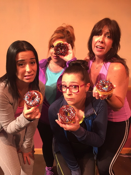 Shenise Nunez, Angela Thomas, Stephanie Genovese and Katie Angell Thomas lust after a doughnut in a revivil of WaistWatchers: The Musical / Photo by Dan Kelley