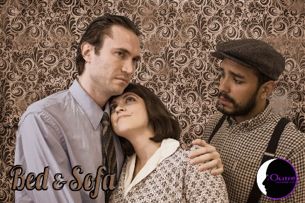 Noah Levine as the interloper steal ing Rebeca Diaz from husband Elvin Negron in Outre Theatre Company's Bed and Sofa / Photo by Geoff Short