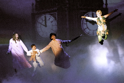Lindsay Bell, Ryan Sell, Trevor Wayne and Shanon Mari Mills take off for Never Never Land in The Wick's Peter Pan.