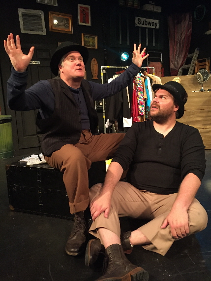 Mark Duncan as Val and Scott Douglas Wilson as Ester trade stories in Thinking Cap Theatre's Waiting For Waiting For Godot / Photo by Nicole Stodard