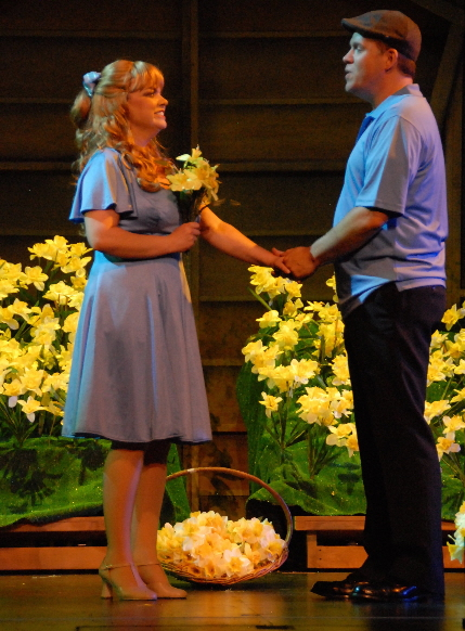 Ann Marie Olson is courted by Shane Tanner with her favrorite flowers in Big Fish from Slow Burn Theatre Company / All photos by Gemma Bramham