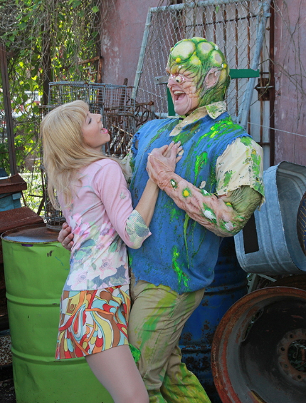 Clay Cartland roamnces Julie Kleiner, sort of, in The Toxic Avenger at Actors' Playthouse
