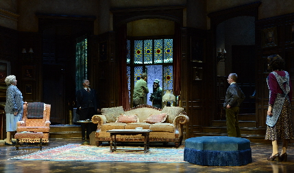 The snowbound usual suspects greet the unconventional arrival of Sgt. Trotter in The Maltz Jupiter Theatre's The Mousetrap / Photos by Alicia Donelan