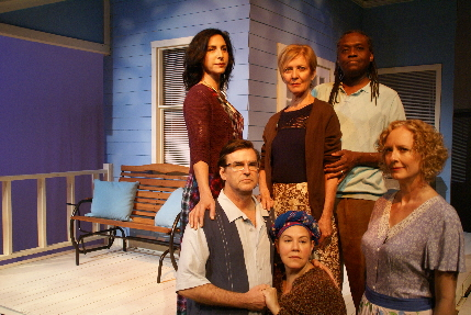 New Theatre's cast for the world premiere of Susan J. Westfall's Two Afternoons and a Day with (front) Harold Clinton Archambault, Evelyn Perez, Kim Ostrenko, (back) Susie Kreitman Taylor, Barbara Sloan and R. Kent Wilson / Photo by Eileen Suarez