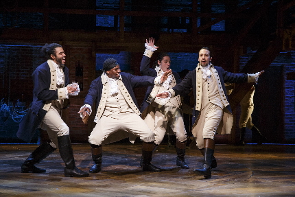 Daveed Diggs, Okieriete Onaodowan, Anthony Ramos, and Lin-Manuel Miranda in Hamilton / All photos by Joan Marcus