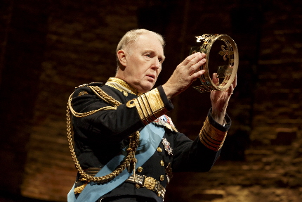 Tim Pigott-Smith weighs the hollow crown in King Charles III at The Music Box Theatre / Photo by Joan Marcus