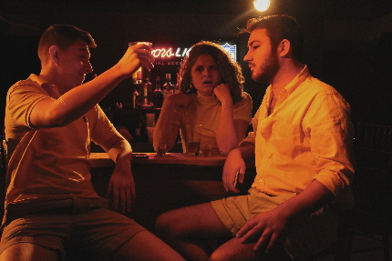 Preppy jerks played by XXX and XXX harass waitress XXX in #Unhappy Hour at Punchline Theatre Co.