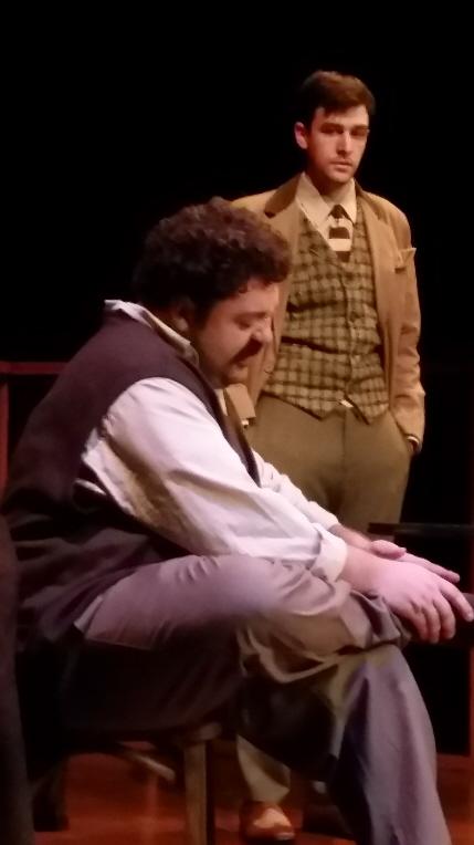 Zack Myers as Einstein and Daniel Leonard as Kafka in Mario Diament's Franz & Albert at New Theatre / Photo by Eileen Suarez