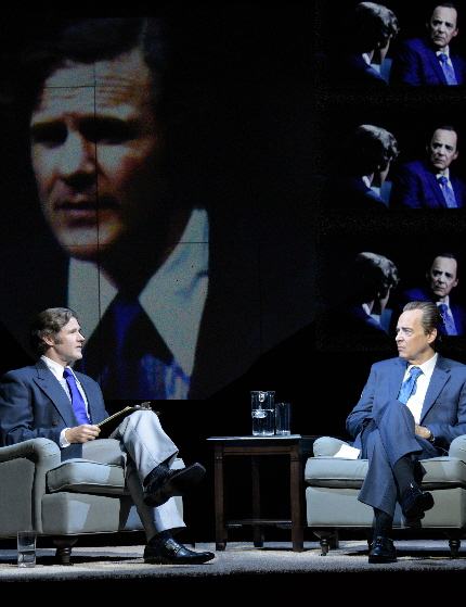 Peter Simon Hilton as the interviewer and John Jellison as the President in Maltz Jupiter Theatre's Frost/Nixon / Photos by Alicia Donelan