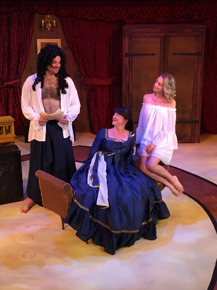 An unusual love triangle in Thinking Cap's Or, incluiding Alex Alvarez as King Charles II, Niki Fridh as Aphra Benn and Betsy Graver as Nell Gwyn / Photo by Nicole Stodard