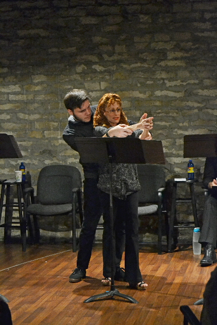 Joe Ferrarelli and Margery Lowe working out a scene during a previous session working on Jennifer Fawcett's Buried Cities, a new work being developed by Palm Beach Dramaworks' new program The Dramaworks / Photo by Samantha Mighdoll.