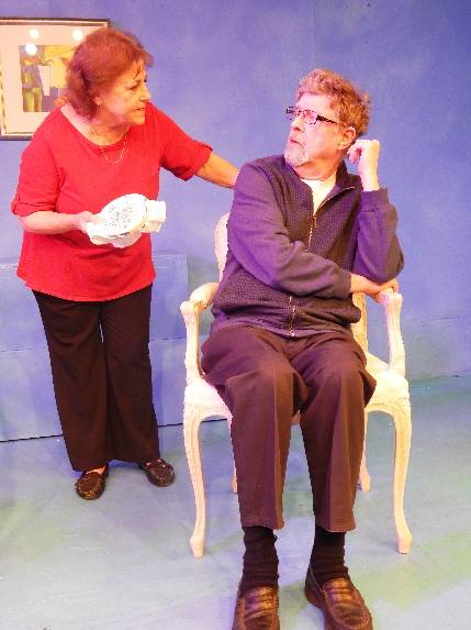 Carol Sussman and Kerry Sensenbach are an old married couple who discover secrets about each other in one of the short playlets in Pigs Do Fly Productions' Curly Tales