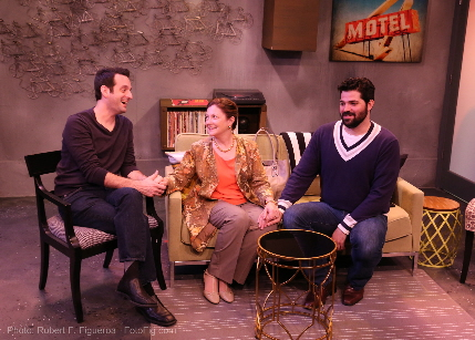 Antonio Amadeo, Laura Turnbull and Alex Alvarez in the world premiere production of Michael McKeever's Daniel's Husband at Island City Stage / Photo by Robert Figueroa