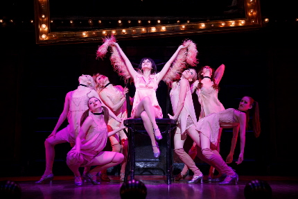 Andrea Goss as Sally Bowles leads the Kit Kat Girls in the national tour of Cabaret / Photo by Joan Marcus Gayle Rankin Kaleigh Cronin Kristin Olness Jessica Pariseau Kelly Paredes Stacey Sipowicz