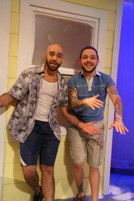 Adam (Gabriel Bonilla) and Vic (Mikey Fernandez) in 'Roof!' at New Theatre / Photo by Eileen Suarez