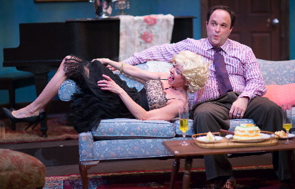 Jacqueline Laggy and Matthew Korinko fool around in Broward Stage Door's Same Time Next Year / Photos by George Wentzler