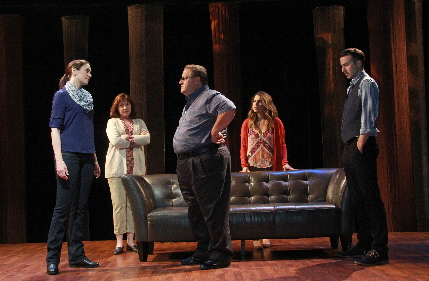 Jennifer Christa Palmer, left, as the heart recipient faces the family of her donor Laura Turnbull, Ken Clement, Natalia Coego and the ghost of the donor Cluiff Burgess in The Tin Woman at Actors Playhouse / Photo by Alberto Romeu