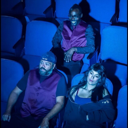 David Nail, Chevii Hill and Jessica Farr as employees taking a breather while cleaning up an old movie theater in The Flick at Mad Cat Theatre Company / Photos by George Schiavone