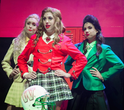 Sunny Gay, Leah Sessa and Cristina Flores as the titular Heathers in Slow Burn Theatre's production / Photos by Lisa Nalven