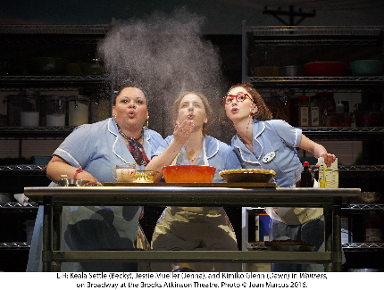 Keala Settle, Jessie Mueller and  Kimiko Glenn breathe life and flour into their dreams in the musical Waitress / Photo by XXXXX  Broadway debutDawn  Molly Hager  Broadway debut	Ensemble  Aisha Jackson  Ensemble  Dakin Matthews  Joe  Jeremy Morse  Broadway debut	Ensemble  Ragan Pharris  Broadway debut	Ensemble  Stephanie Torns  Ensemble  Ryan Vasquez  Ensemble
