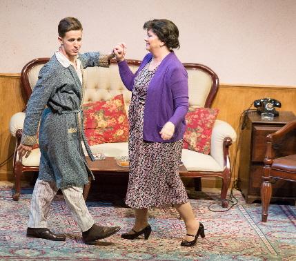 Eugene (Kristian Bikic) takes his mother Kate (Pamela Roza) on a turn through memory lane in Broward Stage Door's Broadway Bound / Photos by George Wentzler