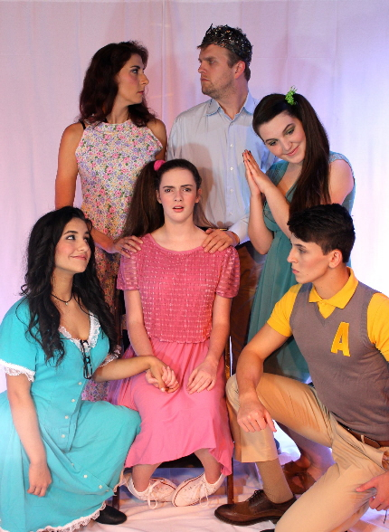 The leads in Evening Stare & Sol Children's Theatre's A Midsummer Night's Dream, clockwise from top left, Cindy Thagard, Justin Schneyer, Chloe Ward, Ryan Siegel, Emma Lawrence and Kayla Asuoty