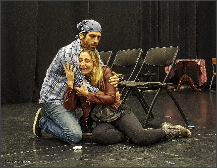 Curtis Belz as Edwin tries to comfort Valentina Izzara as Marcia in an intense moment in Ground Up & Rising's Our Lady of 121st Street / Courtesy photo