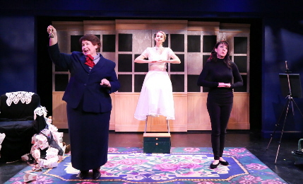 Elizabeth Dimon, Betsy Graver and Niki Fridh find another reason not to leave home in world premiere of The Three Sisters of Weehawken by Deborah Zoe Laufer at Theatre Lab / Photo by Viviana Pugo