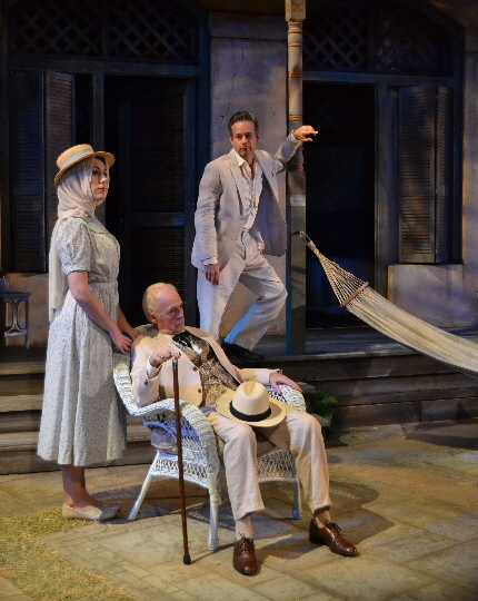 Katie Cunningham, Dennis Creaghan and Tim Altmeyer in a rare clam moment in The Night Of The Iguana at Palm Beach Dramaworks / Photos by Samantha Mighdoll