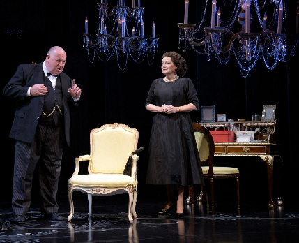 Colin McPhillamy as Winston Churchill and Karen Macdonald as Queen Elizabeth II in the Maltz Jupiter Theatre's production of The Audience / Photo by Alicia Donelan