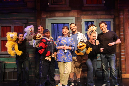 The cast and creatures of Slow Burn Theatre's Avenue Q: From left, Lissa Grossman Comess, Christian Vandepas, Juanita B. Green, Ann Marie Olson, Andrew Rodriguez-Triana, Nicole Piro and Rick Peña / Photos by Patrick Fitzwater