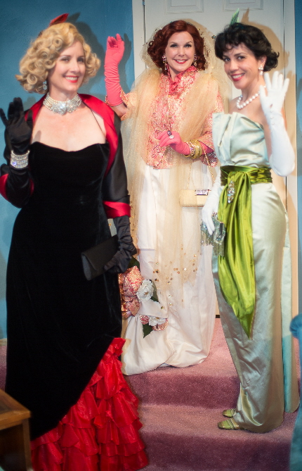 Kim Ostrenko, Christina Groom and Arlette del Toro about to leave for the opera in Perfect Arrangement at Island City Stage / Photos by George Wentzler