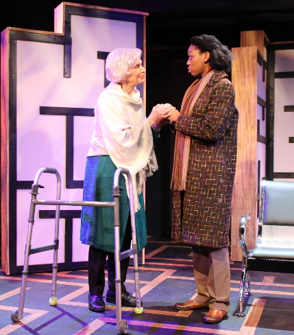 Harriet Oser gives advice to Cherise James in Theatre Lab's production of Steven Dietz's This Random World / Photos by Niki Fridh